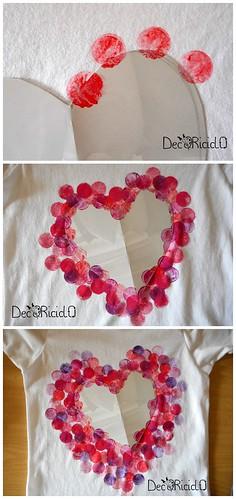 magliette con cuori stampati con tappi di sughero 3