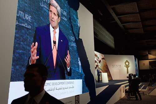 Monitor Shows Secretary Kerry As He Addresses Audience of Several Thousand Attending Egyptian Development Conference in Sharm el-Sheikh