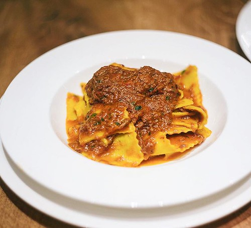 Freshly made pappardelle with ragu of slow cooked beef in Chianti and ...