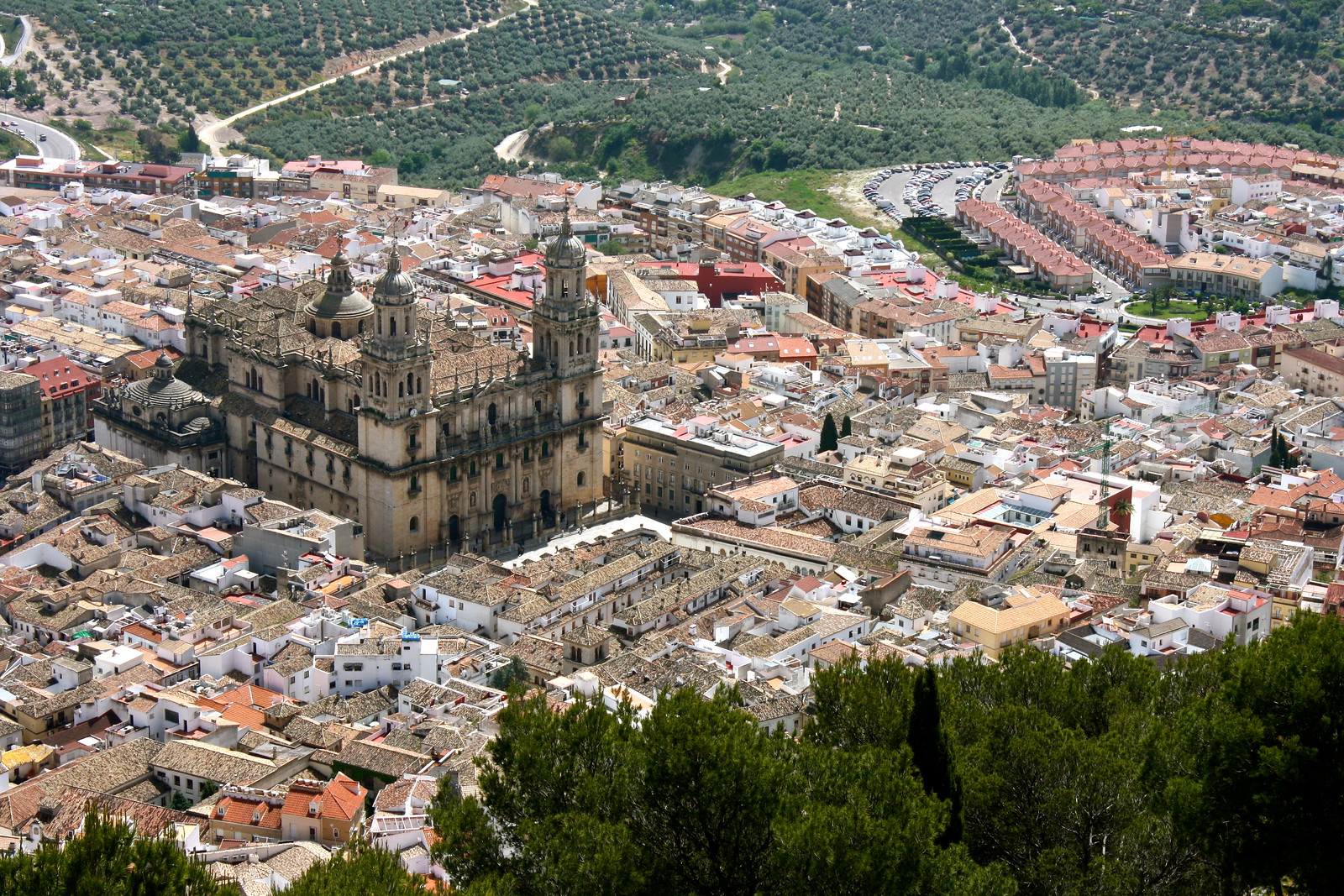 Jaén cathedral seen from the castle, Spain