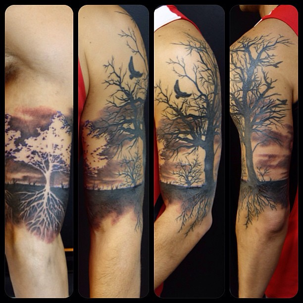 summer winter tree 1 2 sleeve tattoo noelin wheeler flickr. Black Bedroom Furniture Sets. Home Design Ideas