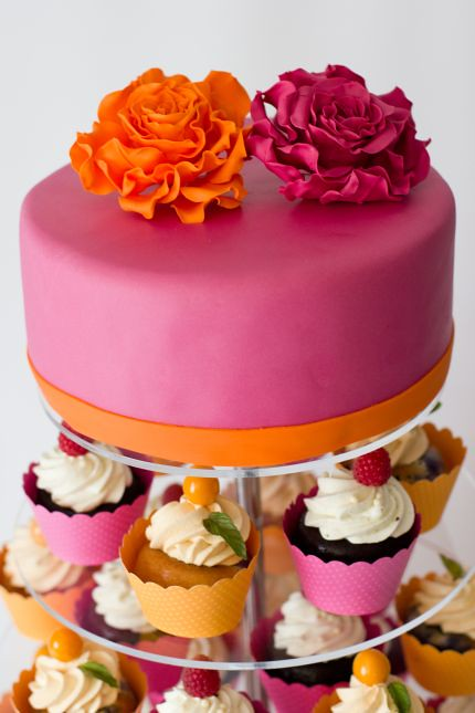 All Sizes V Cupcakestower Hochzeitstorte Cupcakes Pink Orange