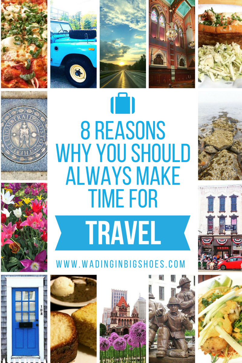 8 Reasons Why You Should Always Make Time For Travel - Considering a vacation but feel guilty about leaving your life behind? Click through for eight important reasons why traveling is good for your physical & mental well-being! (via Wading in Big Shoes)