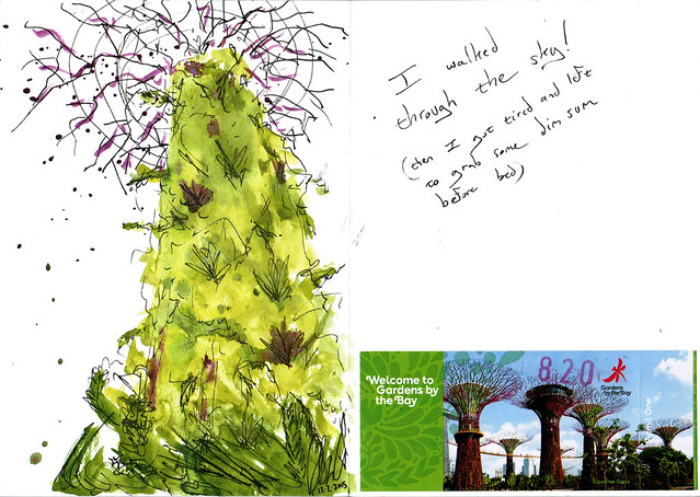 An ink and watercolor sketch of one of those big tree-like structures in Singapore's Gardens By The Bay