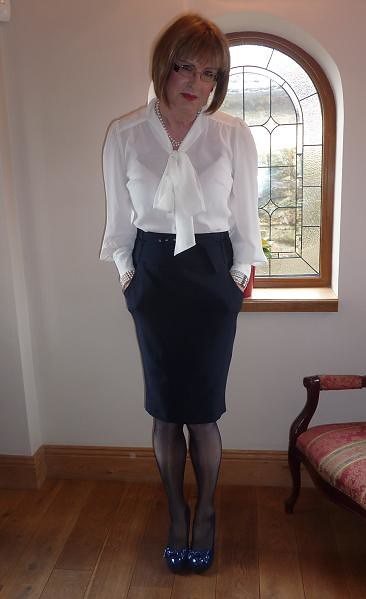 Skirt suit satin blouse panties clothed cum on blouse - 1 4
