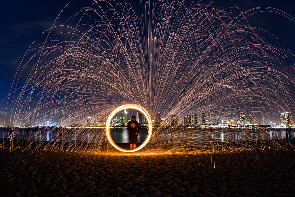 fun with burning steel wool and the san diego skyline