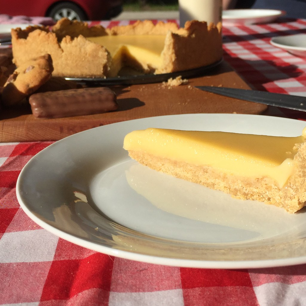 homemade lemon tart on the table