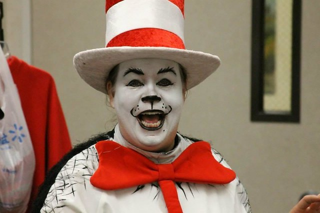 Cat in the hat makeup in full costume and makeup