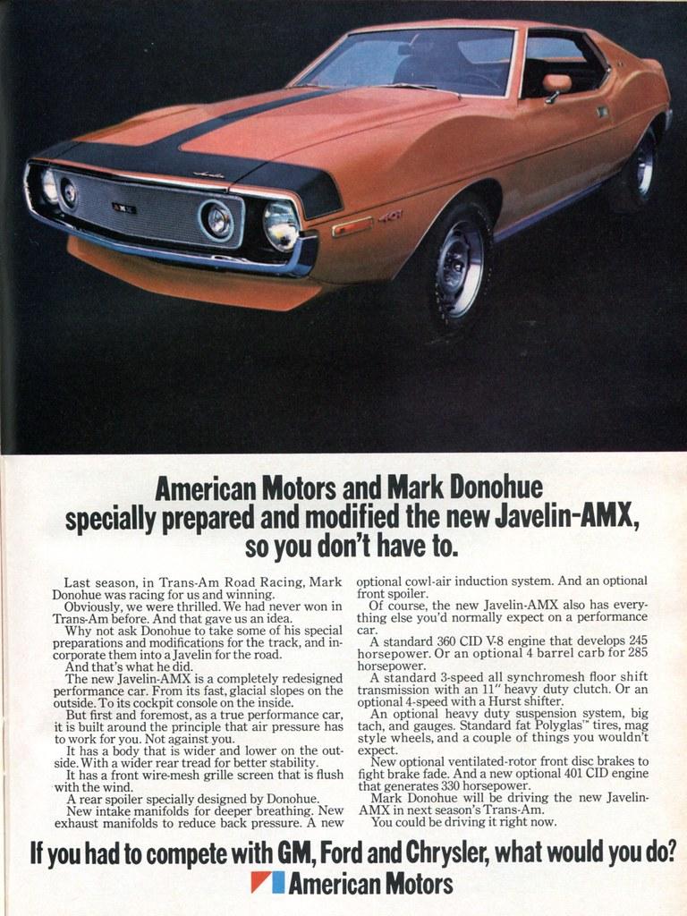 1971 Amc American Motors Javelin Amx Advertising Hot Rod M