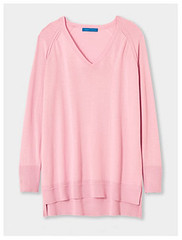 Winser London pale pink cotton v-neck sweater