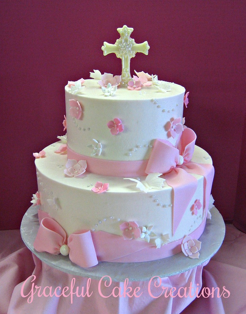 Baptism Cakes For Baby Girls