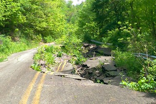 Collapsed roadway