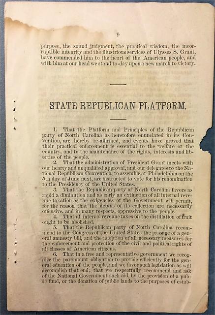 NC republican platform 1872