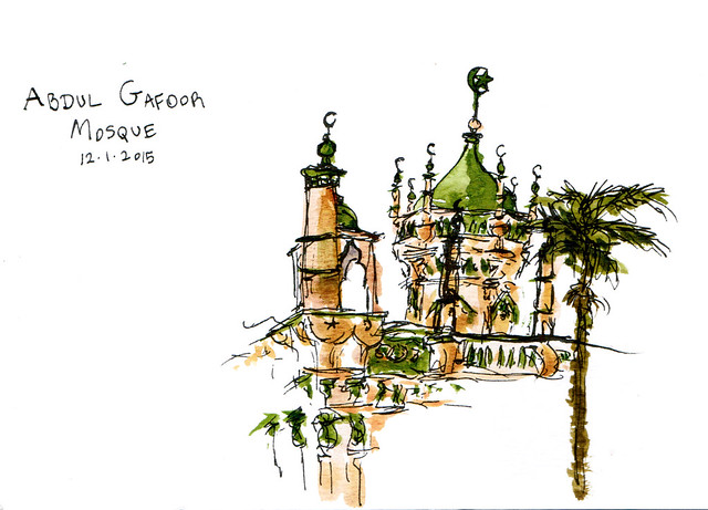 An ink and watercolor sketch of Abdul Gafoor Mosque in Singapore