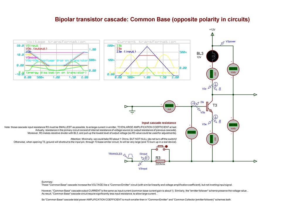 Bipolar transistor cascade: Common Base (opposite polarity in circuits)