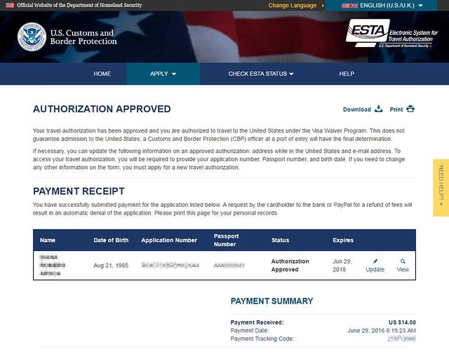 Pago aceptado con el resguardo del visado ESTA para entrar a EEUU