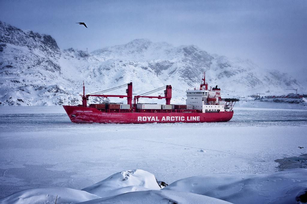 Arctic Line : Royal arctic line ship at sisimiut photo by mads pihl