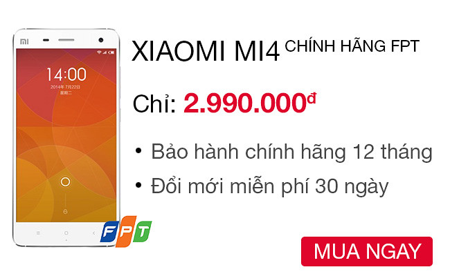 Xiaomi Mi 4 16 GB 2 GB RAM Công ty - CellphoneS