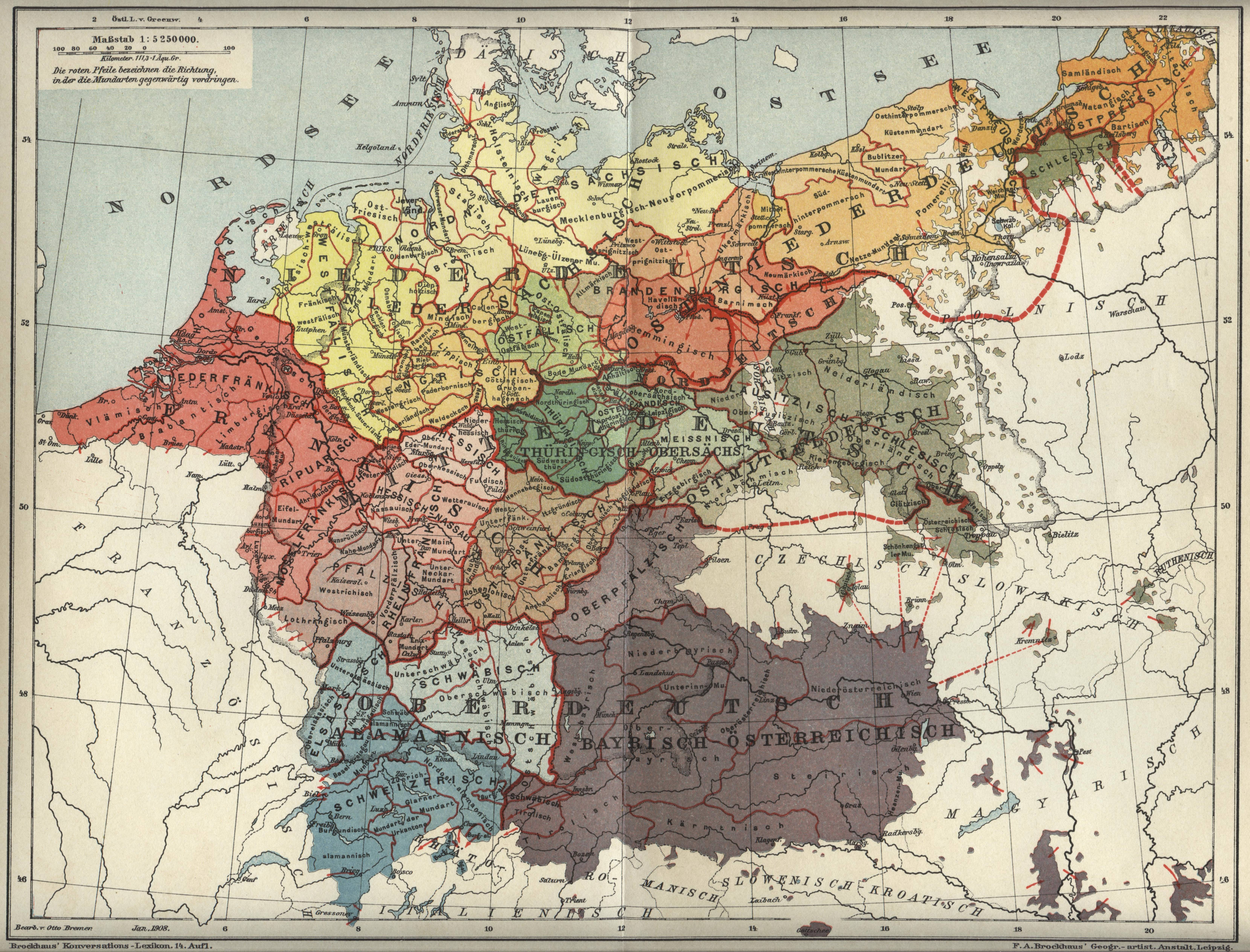 Dialects of the German Language (1894) - Vivid Maps