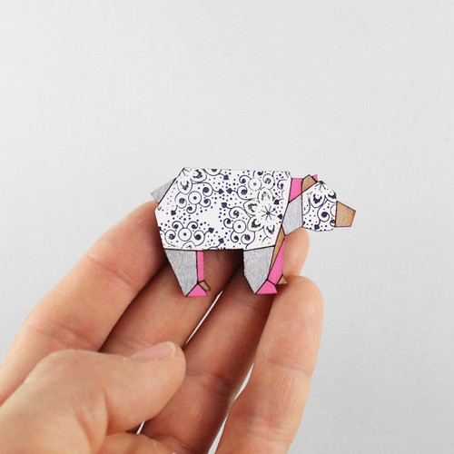 FoldIT Creations Origami Bear Brooch