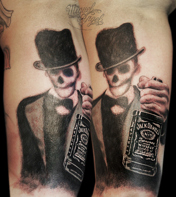 skeleton man with top hat and jack daniel 39 s bottle tattoo flickr photo sharing. Black Bedroom Furniture Sets. Home Design Ideas