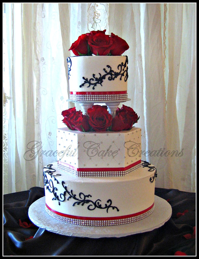 Wedding Cakes With Red Accents