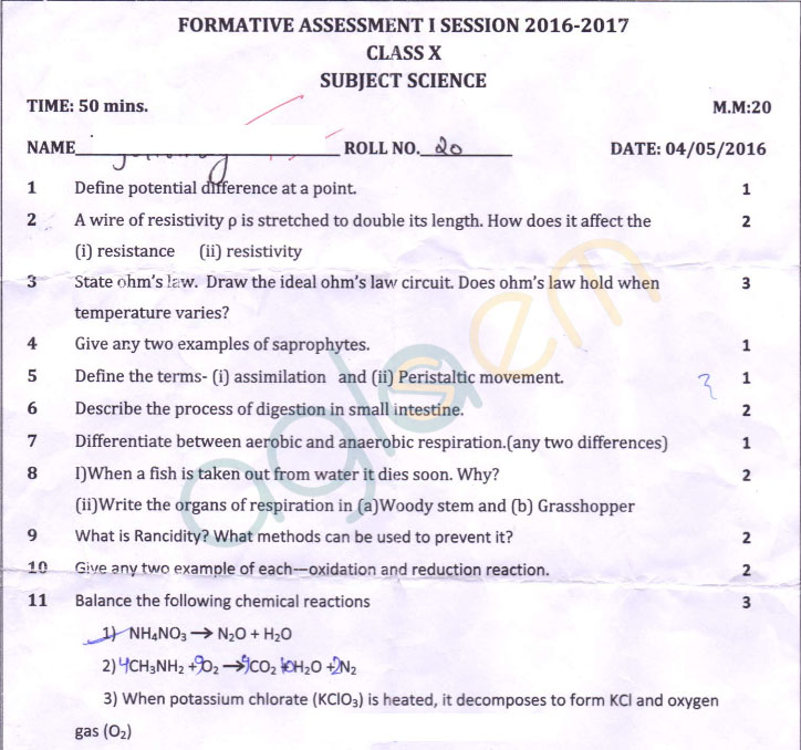 CBSE Class 10 Formative Assessment I Question Paper