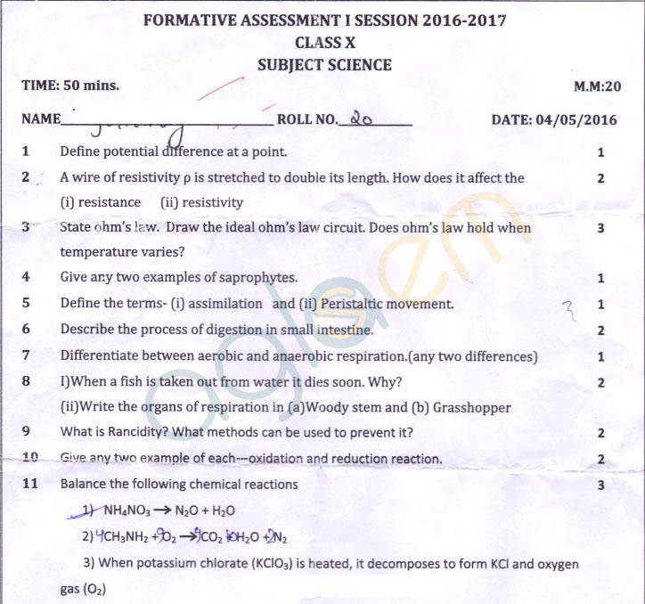 Cbse class 10 fa1 question paper