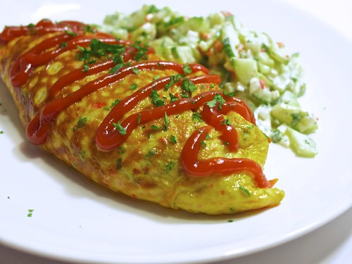 Omurice (but with leftover einkorn and white beans) | by andy pucko