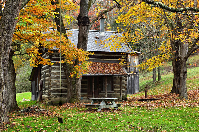 Fall Country Cabin A Quaint Country Cabin Surrounded By