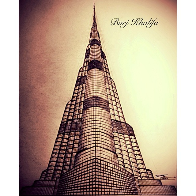 Burj khalifa drawing draw donebyme perspective shad for Burj khalifa sketch