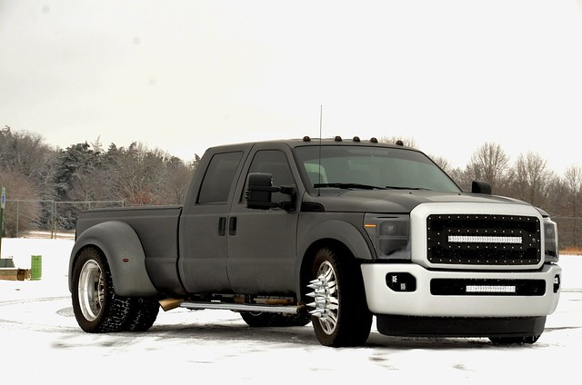 "LOW PROFILE - DUALLY - 2014 FORD F350 4x4 - 24"" Impact American Force"
