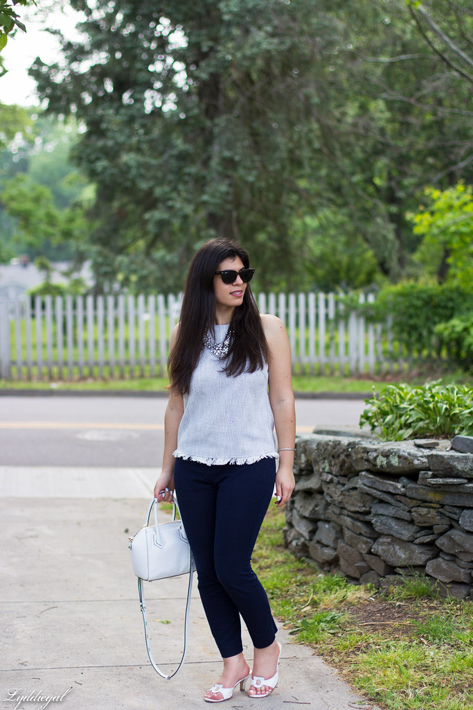 woven top, navy pants, statement necklace-1.jpg