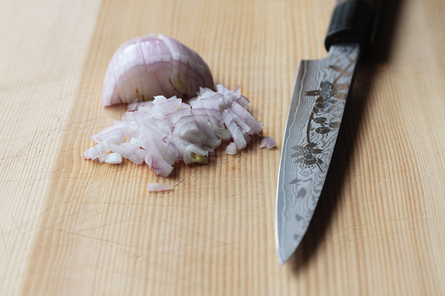 Shallot and knife