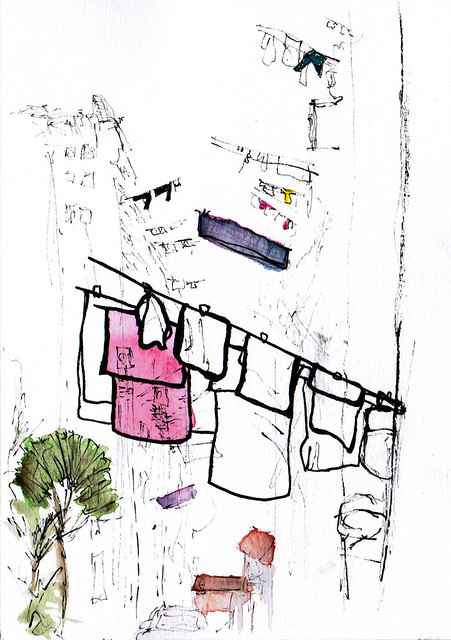 An ink and watercolor sketch of clothing hanging by HDB (public housing) in Everton Park, Singapore