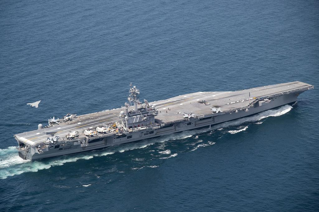 X 47b Flies Over Uss George H W Bush Atlantic Ocean