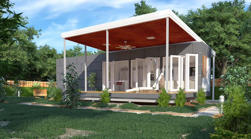 Prefab modular home the milan deck view container home for Modular granny flats