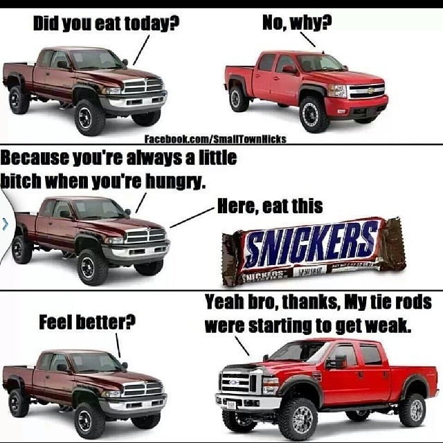 Dodge Chevy Ford Truck Trucks Funny Joke Humor Snickers B