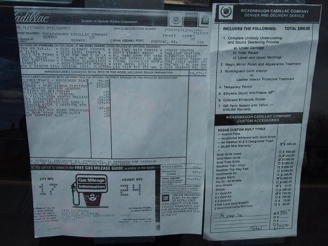 1988 Cadillac Fleetwood D Elegance Window Sticker