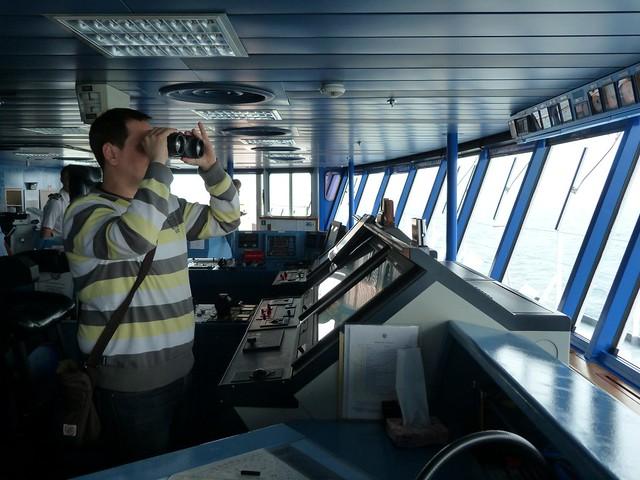 Sele en el puente de mando de un barco de crucero Pullmantur