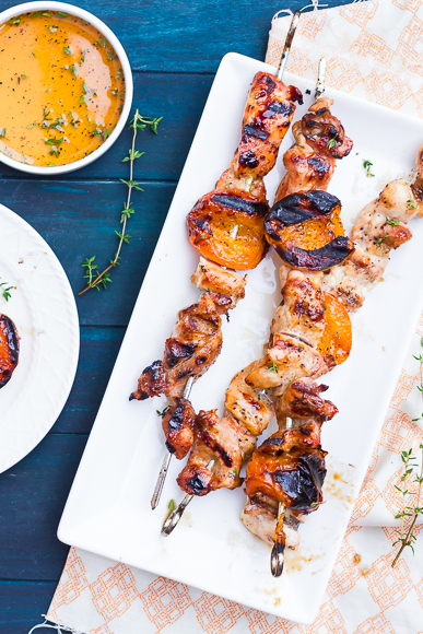 Honey & Thyme-Glazed Chicken and Apricot Skewers