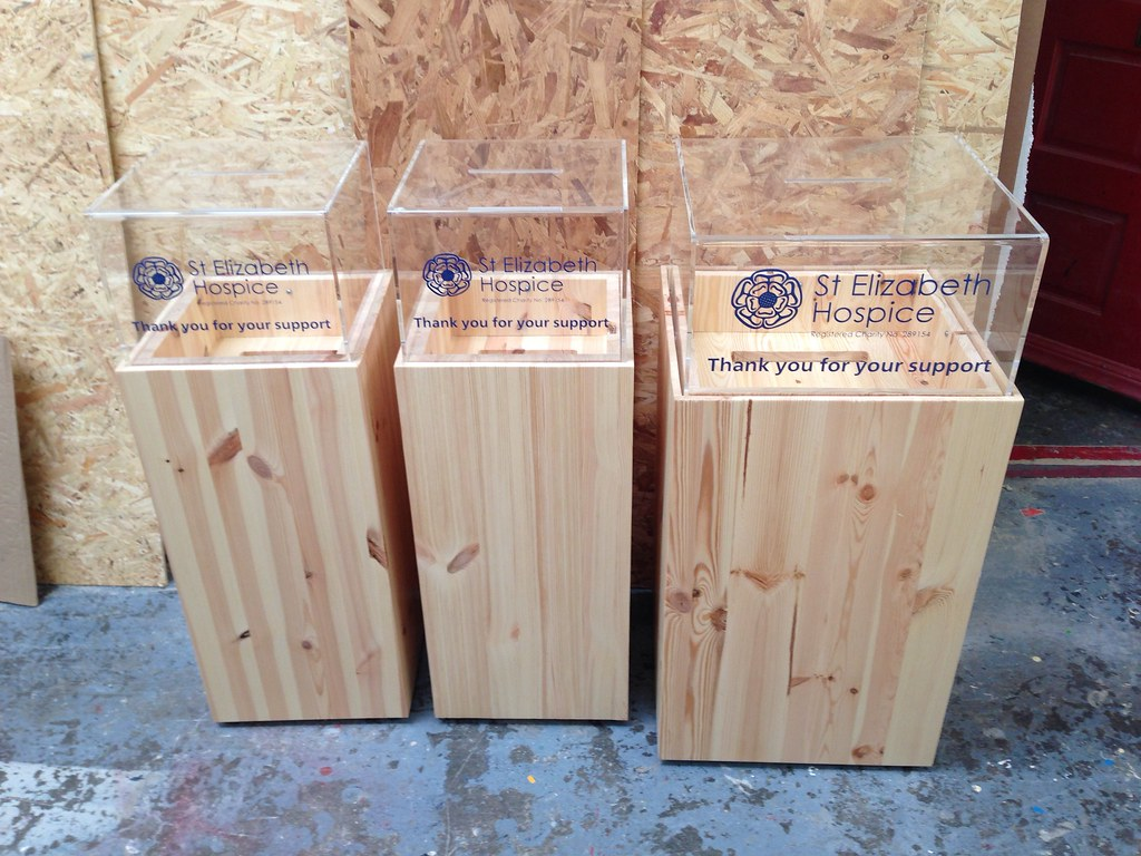wooden donation boxes