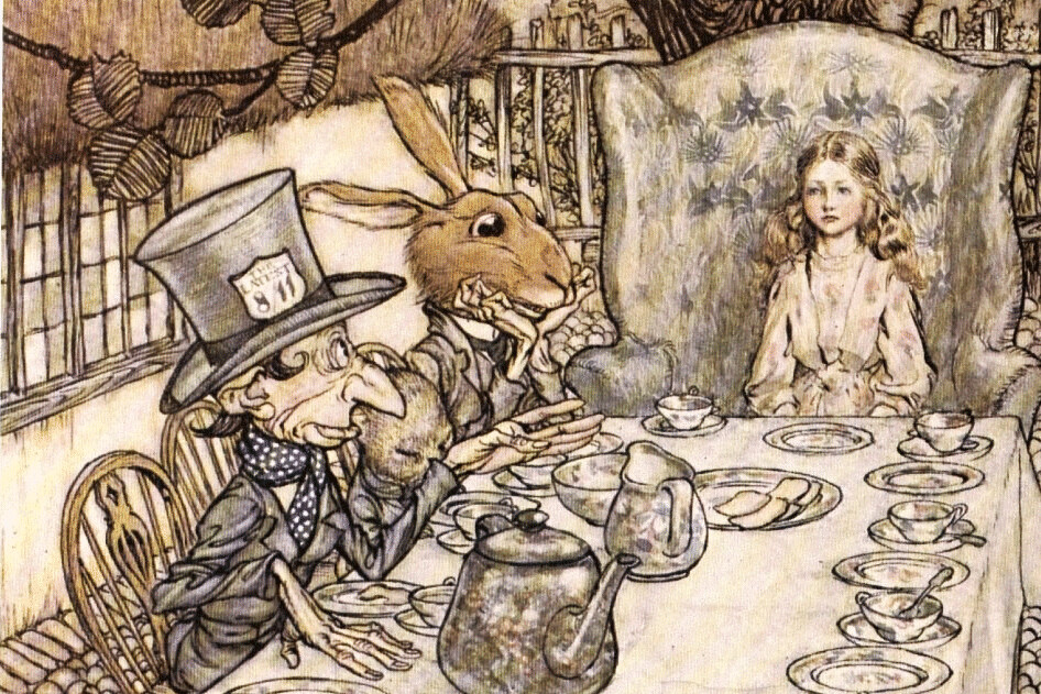 So it's the wrong date for the Hatter, but I confess I generally like the slightly later and less iconic Arthur Rackham illustrations of Alice in Wonderland!