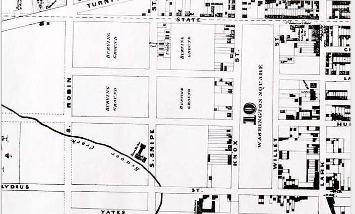 street map of area that became washington park c 1869 alba
