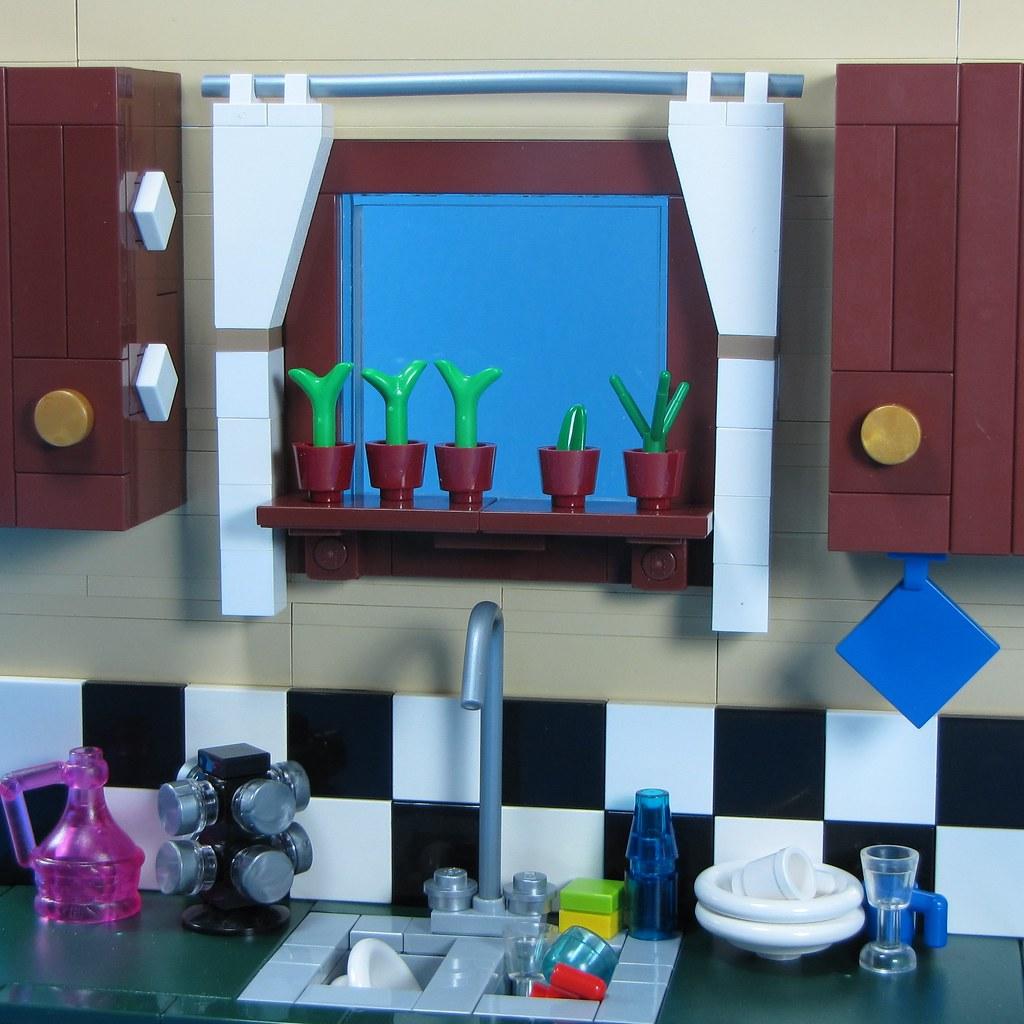 Lego Kitchen Backsplash: A Windowsill Herb Garden. A Moc Cut From My
