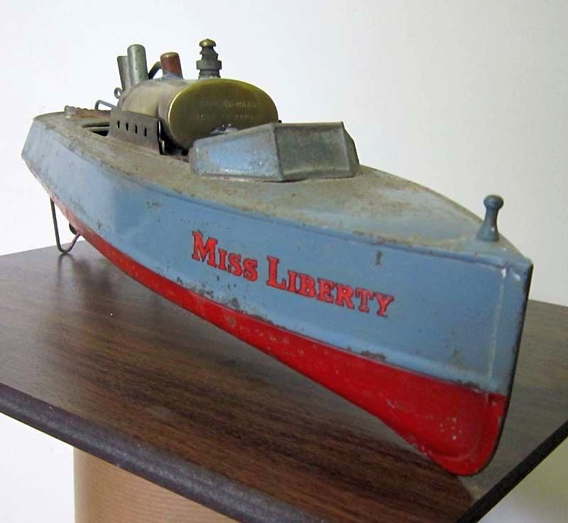 VINTAG MISS LIBERTY LIVE STEAM BOAT POND BOAT 14 INCH TOY ...