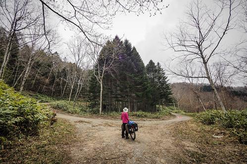 Dirt road touring near Hobetsu, Hokkaido, Japan