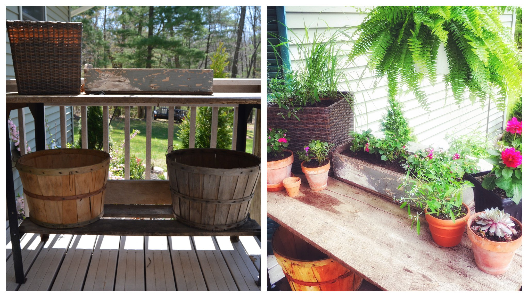 Front porch potting bench