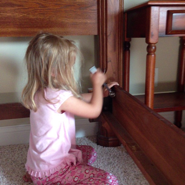 Taking apart the beds, prepping foe move. My little girl can use a socket wrench!