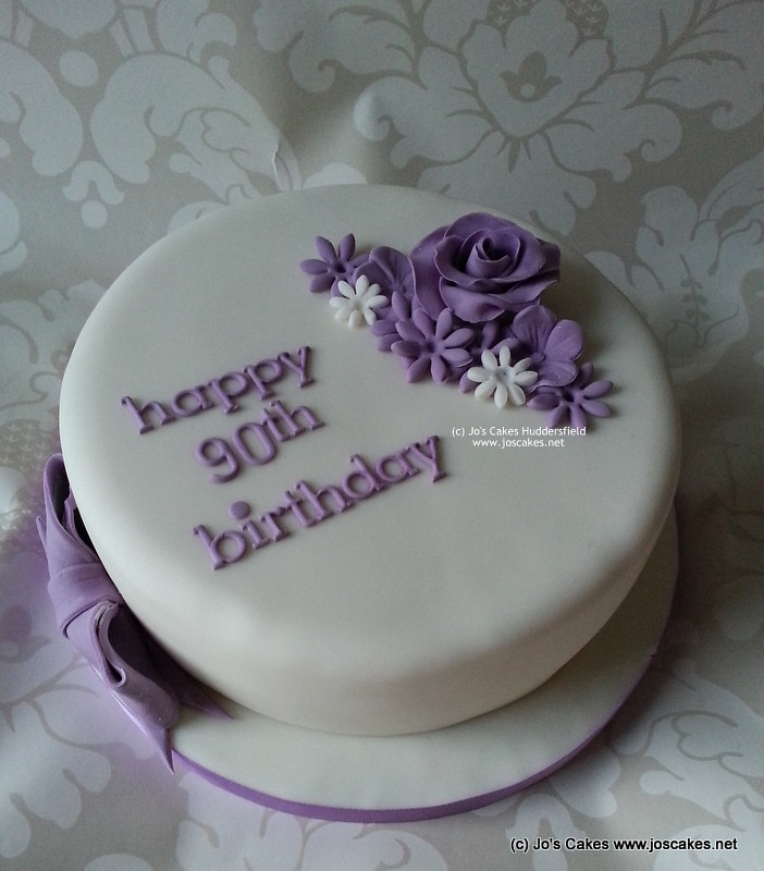 Birthday Cake Design For Papa : Purple Simple 90th Birthday Cake My brief was floral and ...